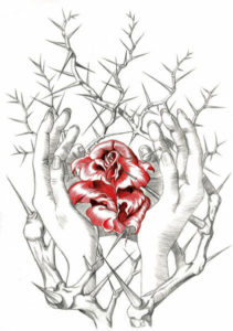 hands-rose-thornbush
