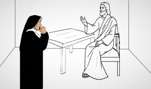 Faustyna i Jezus przy stole